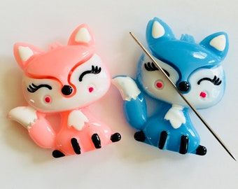 Pink or Blue Fox Needle Minder -  Foxes Magnetic Cross Stitch, Sewing, Embroidery, Quilting Accessory