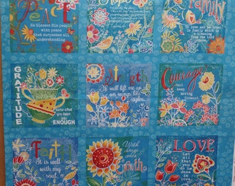 Faithfully Yours Inspirational  Panels  by  Clothworks  Fabric