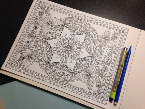 Butterfly Garden Botanical Mandala Coloring Page Etsy