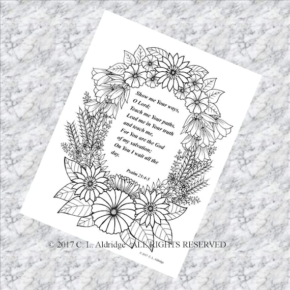 Ornamental Floral Garden Frame with Psalm 25:4-5 - Coloring Page