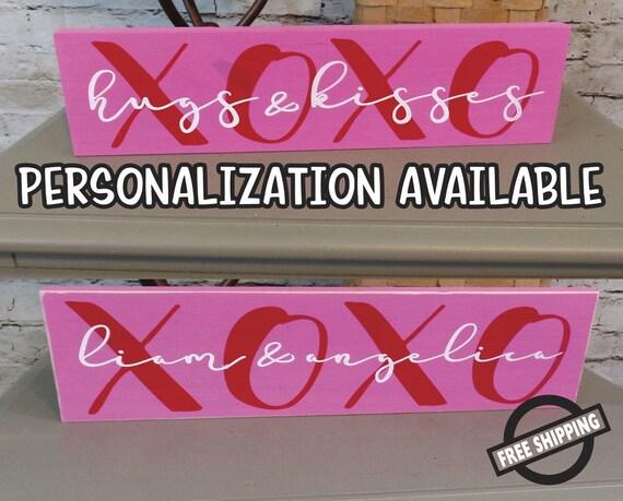 Xoxo Block Hugs And Kisses Valentines Day Sign Etsy