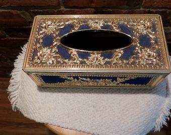 Vintage Brassplate Wire Mesh /& 3D Roses Tissue Box Holder Cover Hollywood Regency 1960s