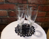 Champagne and Toasting Flutes, Cut glass champagne flutes, champagne glasses, Champagne glass set, 4 fluted glasses, Morethebuckles
