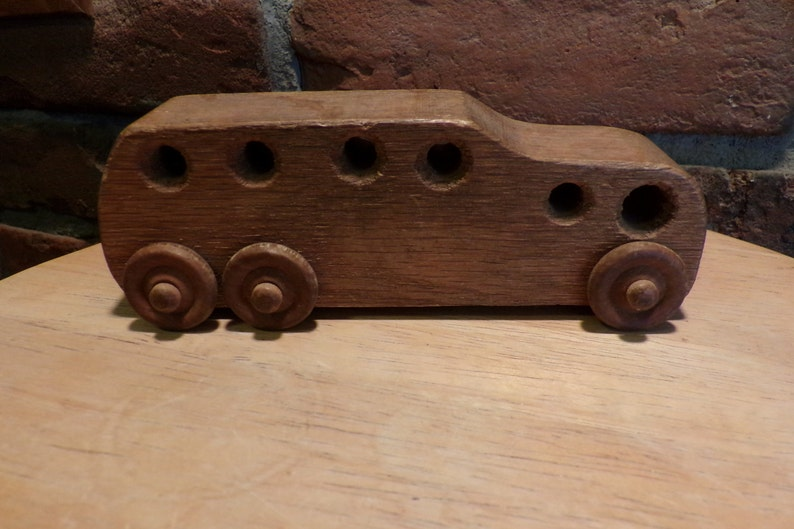 Vintage Wood Car Wood Bus Wooden Homemade Bus Push Pull Toys Vintage Wood Toy