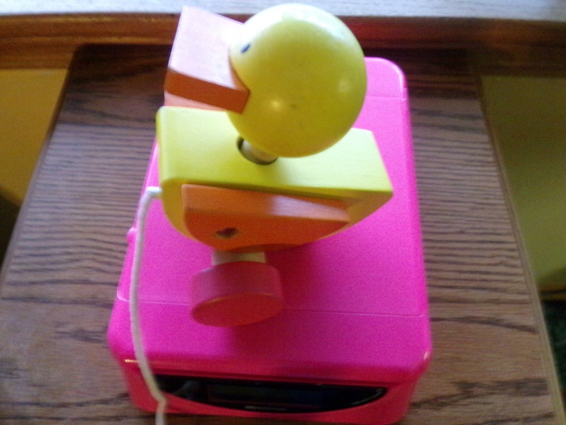 Vintage wooden duck pull toy wooden duck 1970\u2019s pull toy gift for baby