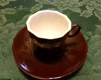Liling China Brown tea cup and saucer. Liling Cup, Brown China Tea cup and saucer, Collectible China cup, Footed cup, Marked Cup and Saucer