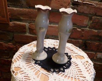 Vintage Roselane Pottery Pasadena CA Bud vases, 1960's bud vases, Vintage Tan and brown bud vases, Morethebuckles
