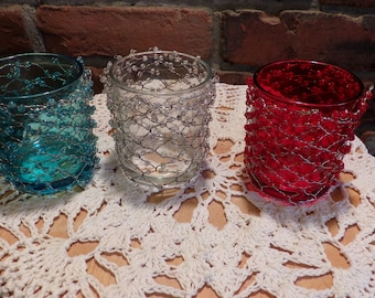 Beaded Glass Candle Holder, Wire, beads and glass candle holders, three candle holders, candle holders set, Beaded candle holders