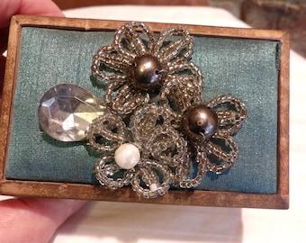 Jeweled Trinket Box, Jeweled wooden trinket box, vintage jeweled trinket box, wood trinket box, Morethebuckles