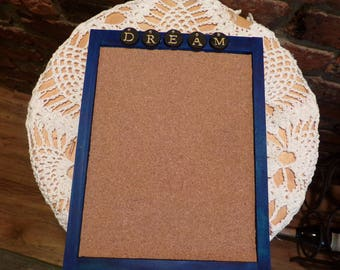 Dream Cork Board, Framed Cork Board, Pin Board, Blue Cork Board, Small cork board, room cork board, Morethebuckles, Message Board, Upcycled