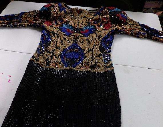 Cleopatra Beaded full length dress Morethebuckles Halloween Sequins Original Vintage Beaded Dress Black Formal India Pure Silk