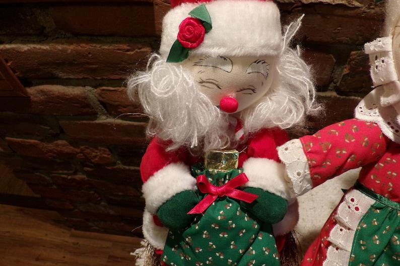 Vintage Santa and Mrs Claus Straw Broom Dolls Clause Dolls 1980\u2019s Santa and Mrs Vintage Christmas Morethebuckles 1980\u2019s Christmas