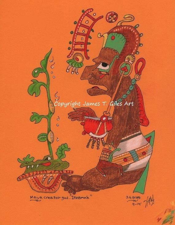 Mayan Creator God Itzamna FREE Shipping Fine Art Print   Etsy