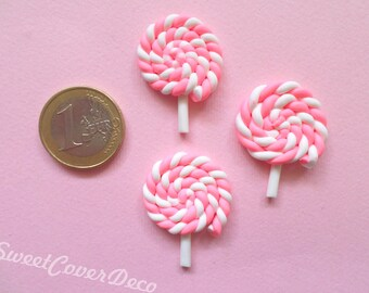 30 x 25 mm Kit 3 Cabochon Pink Lollipop lollipop
