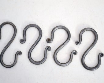 hand forged, wrought iron 'S' hooks