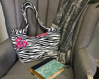 Fabric handbag, handmade purse, Fabric purse, Zebra print, Animal print, Woman's handbag, shoulder bag
