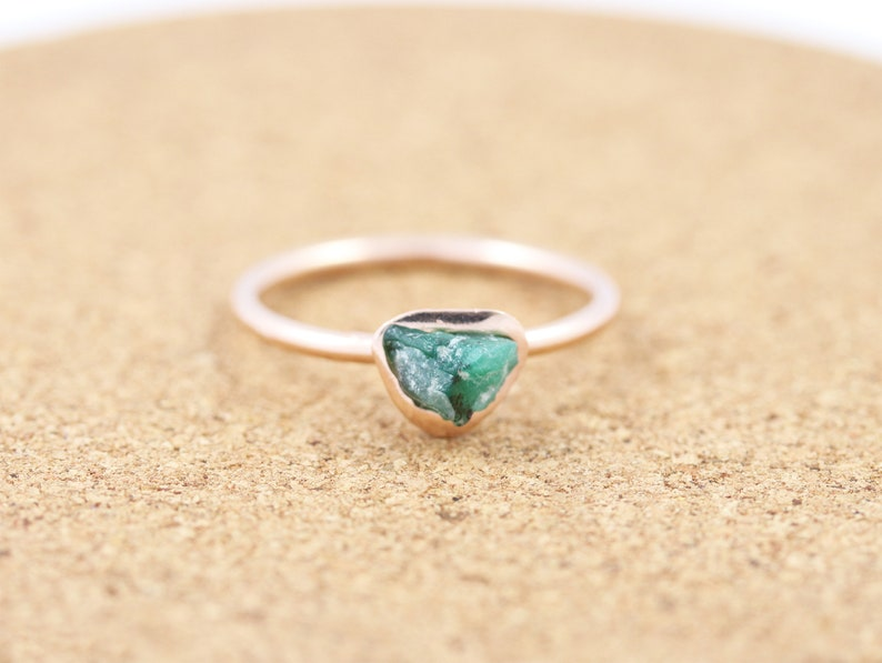 1d48a3d71 Raw Rose Gold Vermeil Emerald Ring Gemstone Ring Rough Stone