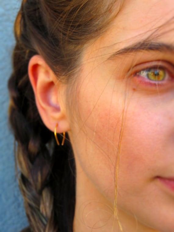 75214faaadce1 Gold Upside Down Teardrop Hoop- Horse Shoe Earrings-Minimal  Earrings-Silver-Gold-Rose Gold-Oxidized Silver