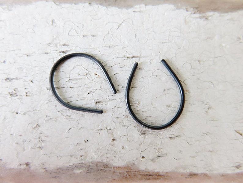 Upside Down Teardrop Hoop Horse Shoe Earrings-Minimal Earrings-Open Hoop-Sterling Silver,Oxidized Silver and Gold