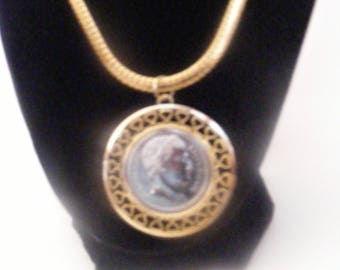 Vintage Napoleon Empereur Coin Pendant on Goldtone Serpentine Chain
