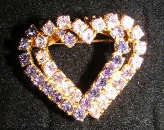 Vintage Gold Tone Double Heart Clear Purple Rhinestone Brooch