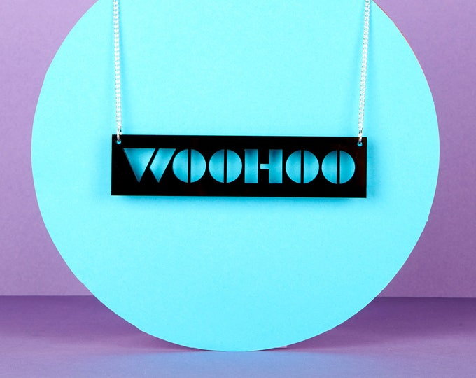 WOOHOO Typographic black acrylic statement necklace