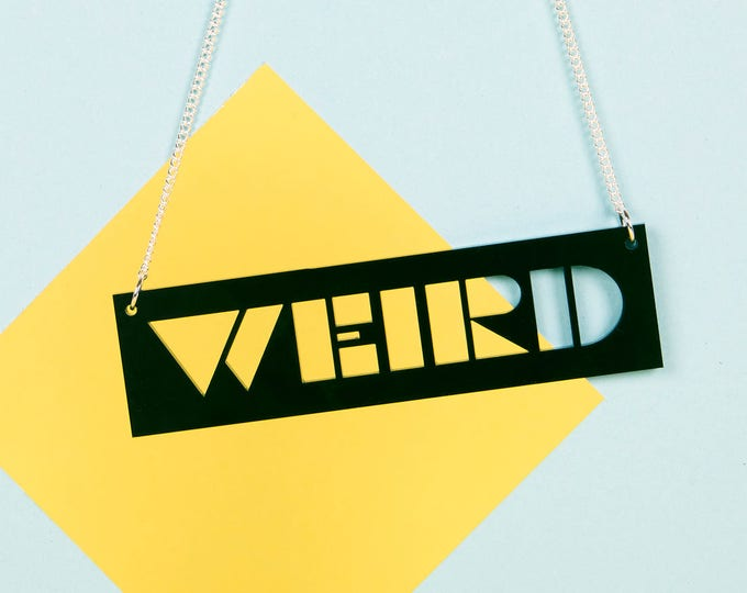 WEIRD Typographic black acrylic statement necklace
