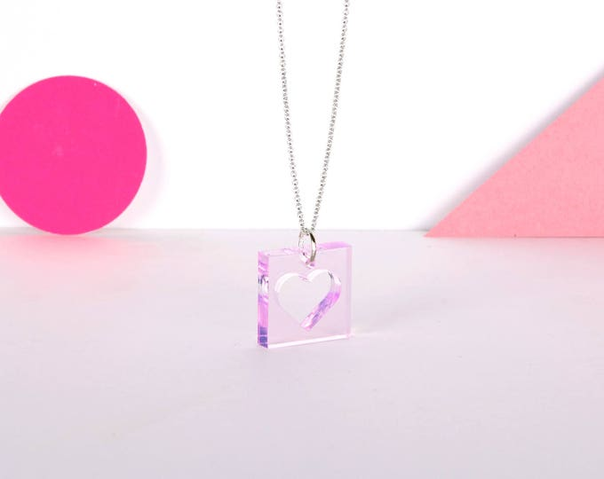 Mini pink HEART graphic acrylic necklace in transparent pink