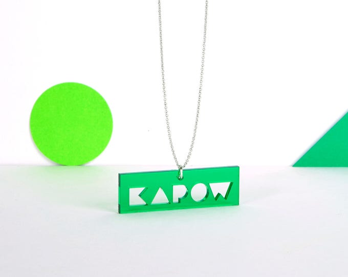 Green transparent mini KAPOW typographic acrylic statement necklace