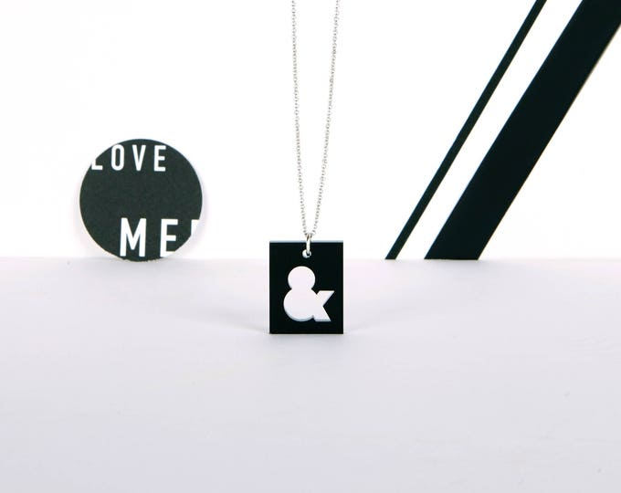 AMPERSAND mini typographic black acrylic statement necklace