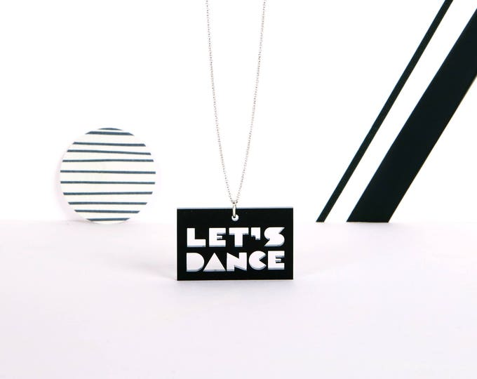 LET'S DANCE mini typographic black acrylic statement necklace