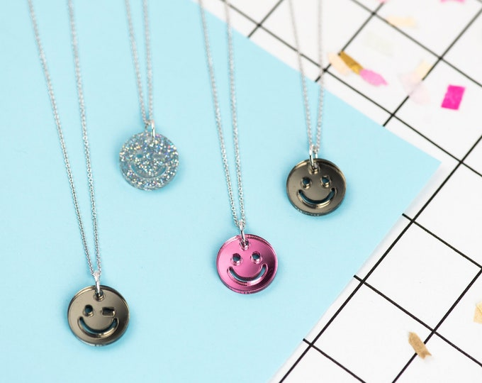 Smiley face acrylic necklace