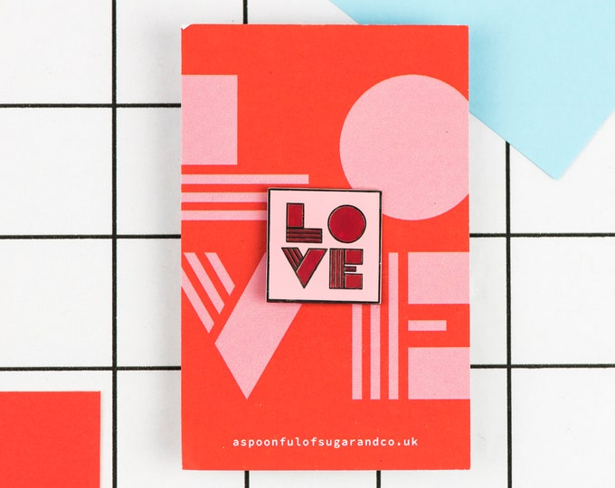 Geometric LOVE typographic hard enamel pin in silver