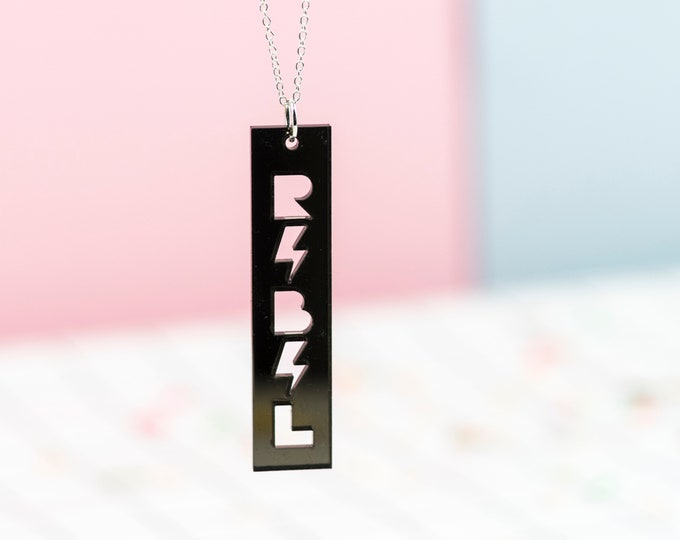 REBEL typographic acrylic necklace