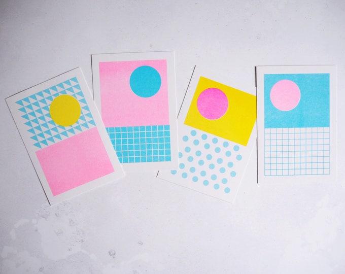 Pattern Print Set of 4 - Selection of Mini Risograph prints A6