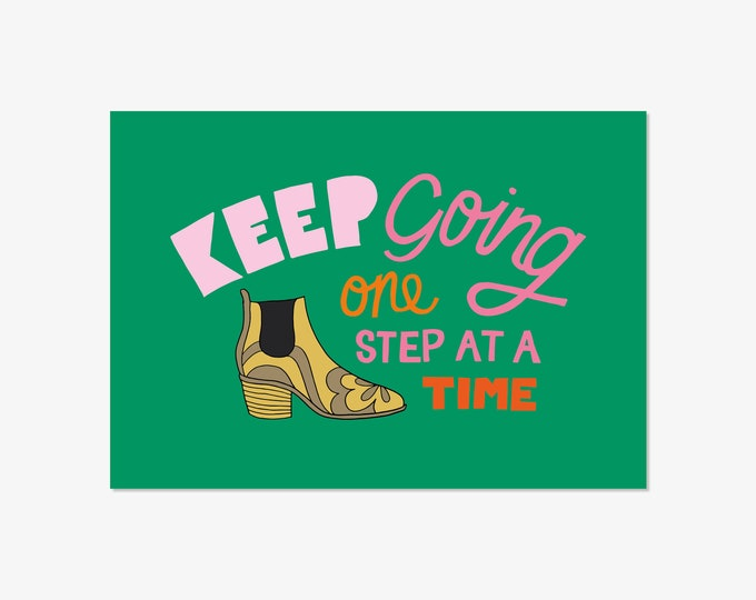 Keep going - hand drawn typographic positivity print