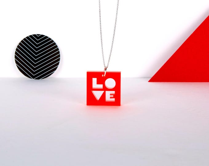Cute neon red transparent mini LOVE typographic acrylic necklace