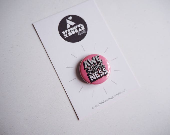 Awesomeness pink typographic badge