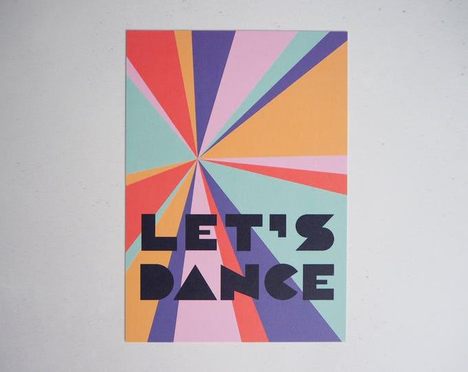 Let's dance rainbow typographic print