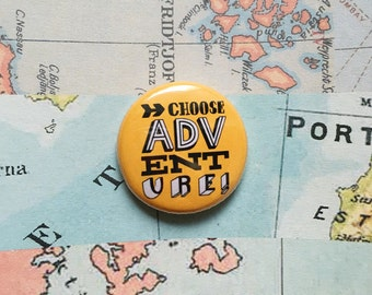 Choose adventure! Hand drawn typographic badge (yellow)