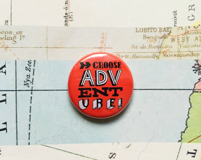 Choose adventure! Hand drawn typographic badge (red)