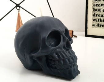 Matte Black Skull Candle