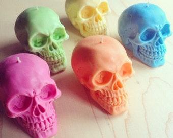 Rainbow Skull Candle set
