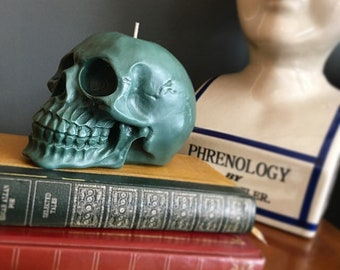 Large Forest Green Skull Candle