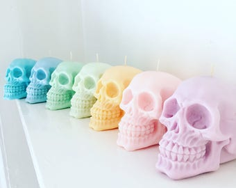 Pastel Skull Candle - 100% soy wax - your choice of scent & colour - Soy wax candle - Skull candle -Vegan candle - Pastel goth