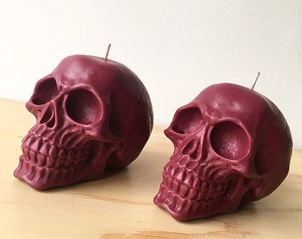 Large Dark Red Skull Candle