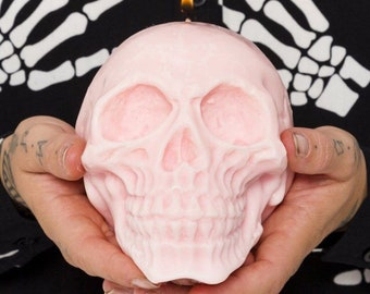Large Skull candle - 100% soy wax - vegan candle - skull decor - pastel skull candle - Halloween