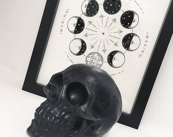Large Black Skull Candle