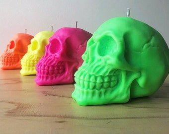 Neon Skull Candle