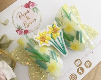 Bunny daffodil Easter hair bow gift